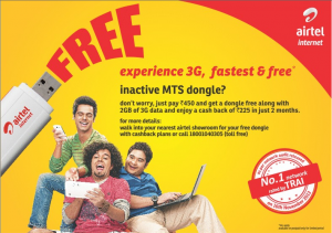 Airtel 3G Dongle offer for MTS MBlaze Customers