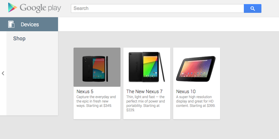 Nexus 5 at Play Store